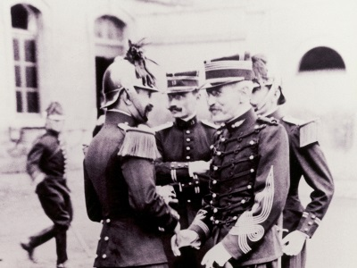 Alfred Dreyfus and Commandant Targe at the Rehabilitation Ceremony