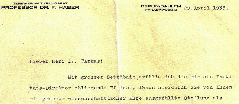 29/4-6/5/15: Termination of Employment Letter to Ladislaus Farkas from Fritz Haber