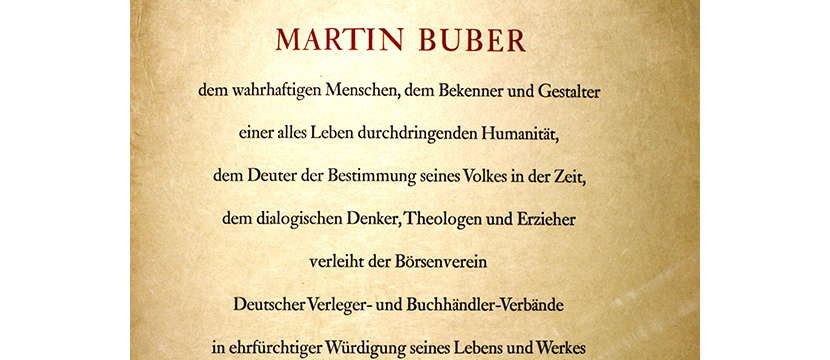 14/10-21/10/15: Peace Prize of the German Book Trade Awarded to Martin Buber, 1953