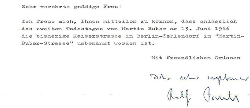 21/1-28/1/15: Letter of First German Ambassador, Rolf Pauls, to Chava Steinitz (Buber)