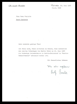 Letter of First German Ambassador, Rolf Pauls, to Chava Steinitz (Buber)