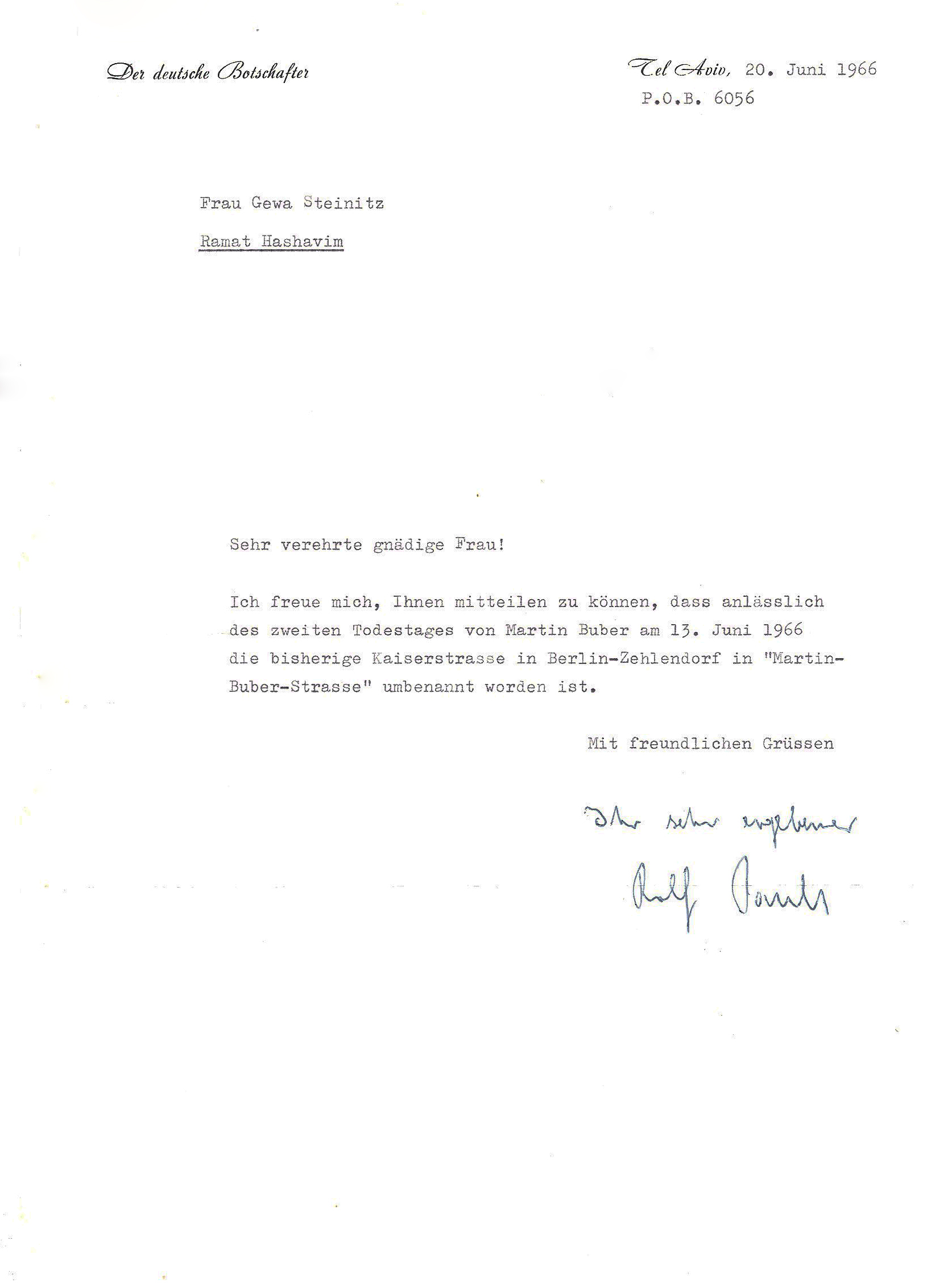letter of first german ambassador  rolf pauls  to chava