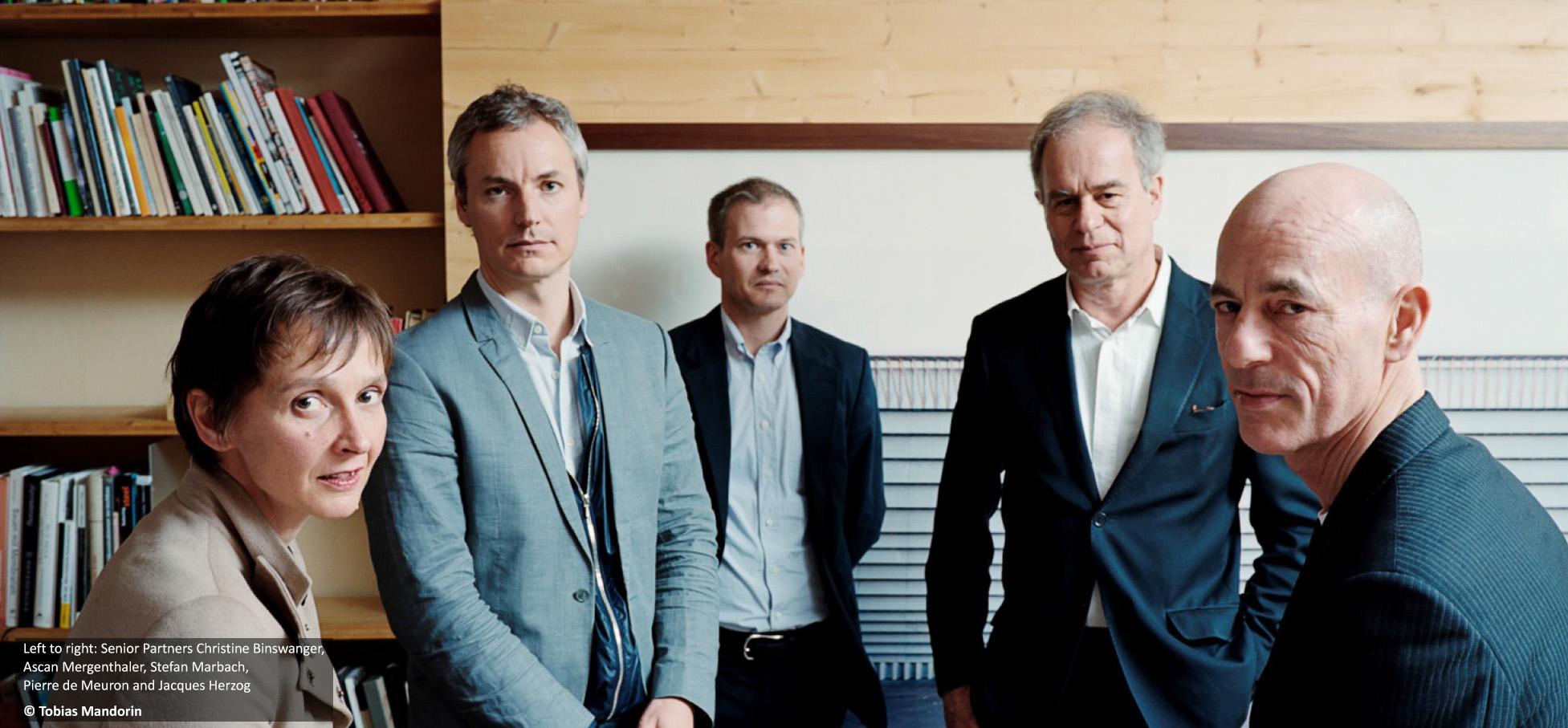משמאל לימין: שותפים בכירים - כריסטין בינסוונגר, אסקן מרגנתלר וסטפן מרבך ביחד עם שותפים מייסדים - פייר דה מרון וז'ק הרצוג.